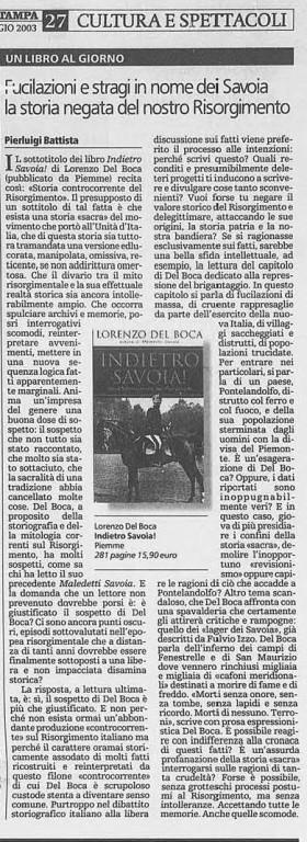 foto articolo INDIETRO la stampa 2003