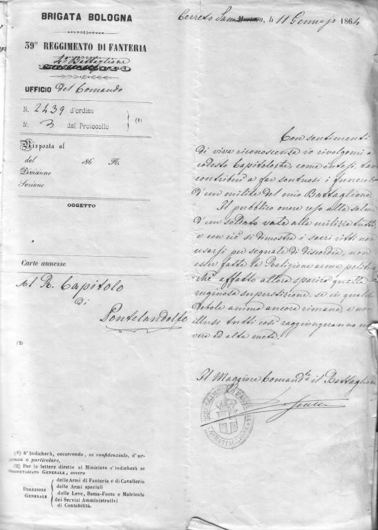 lettera originale Bersagl